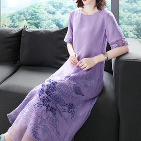 (特价款)OG2216中国风山水刺绣连衣裙TZF