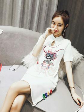 改良版旗袍夏季2018新款女装中国风时尚小香风少女清新淡雅连衣裙