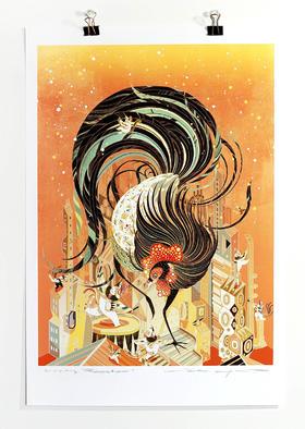 春节限时折扣【Victo Ngai亲笔签名版画】Lucky Rooster 吉星高照 | 大尺寸限定版