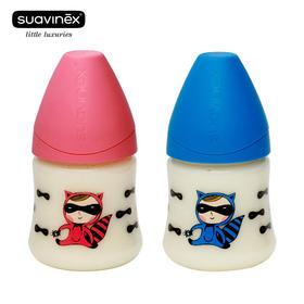 苏维妮防摔防呛防胀气 宽口乳胶 硅胶婴儿一段奶瓶实感150ml