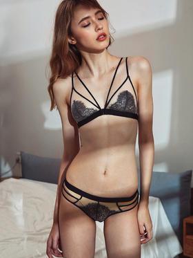 MIMI FANTASY 前扣性感交叉绑带超薄bralette无钢圈文胸套装