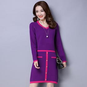 QKC-E9014秋冬新款韩版显瘦中长款连衣裙