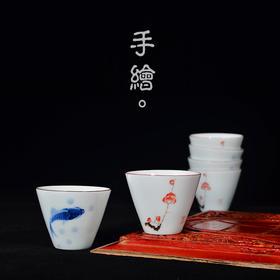 景德镇纯手工工夫品茶闻香手绘品茗杯功夫小茶碗主人杯单杯