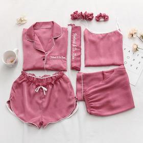 【进口发光丝绸】睡衣七件套 冰凉柔软 舒适透气  一年四季可穿