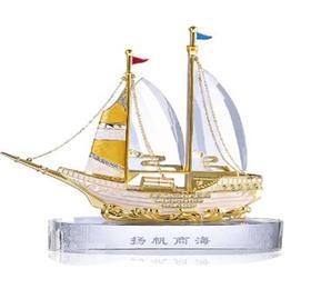罗比罗丹扬帆商海K9水晶船摆件创意家居装饰品摆设开业商务礼品