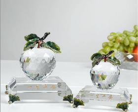 罗比罗丹一生平安珐琅彩水晶苹果 家居摆件 商务回访纪念品