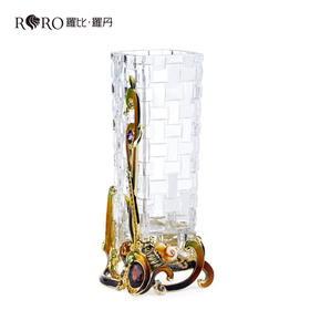 罗比罗丹水晶珐琅彩工艺品 平安吉祥 花插花瓶 居家装饰品