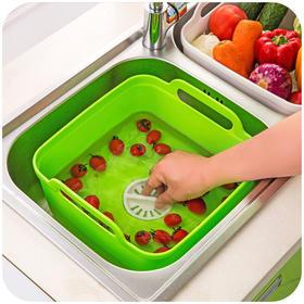 【小设计 大用途】巧居家 英式果蔬清洗移动水槽  清洗滤水一件搞定