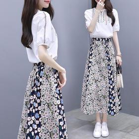 两件套修身长款连衣裙刺绣短袖裙碎花长裙套装YZ3050