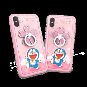 哆啦A梦 浪漫花语保护壳 卡通指环支架创意个性女新款防摔全包手机壳