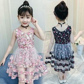女童碎花连衣裙儿童装夏款清凉快衣服中大童蕾丝纱裙公主裙超洋气