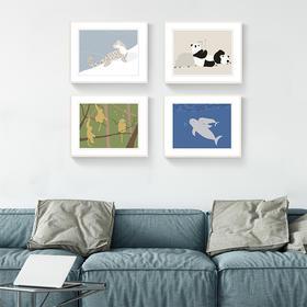 "【LOHAS*印物所】""稀有的爱""手工丝网印刷装饰画|熊猫金丝猴江豚雪豹四款可选|带挂绳可安装于室内墙壁"