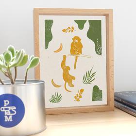 "【LOHAS*印物所】""稀有的爱""木刻套装|滇金丝猴&江豚两款图案可选|配备工具印泥|亲子互动|关爱地球"