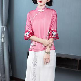 复古刺绣盘扣中国风改良时尚短款宽松绣花旗袍上衣YFN18068