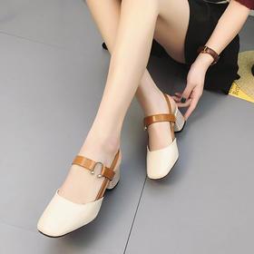 新款夏季方头中跟奶奶鞋女凉鞋韩版侧空套脚单鞋复古包头拖鞋QW1822