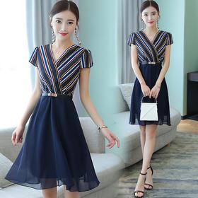 夏季新款韩版女装修身显瘦条纹雪纺连衣裙CY1881