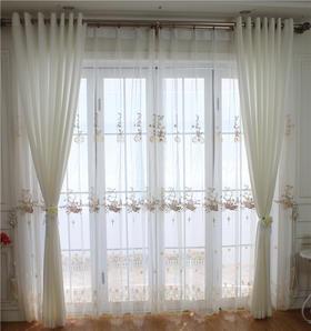 【牡丹花下】轻奢简欧精致刺绣窗纱 法式浪漫公主风