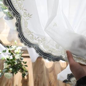 【玫瑰园】米色蓝色贴绒绣花窗纱