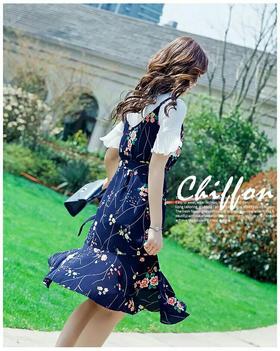 雪纺中长款吊带裙女2018夏季新款甜美荷叶边裙摆两件套套装连衣裙