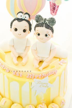 翻糖定制奶油蛋糕  龙凤胎 双胞胎