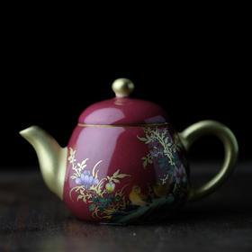 长窑制器 胭脂水描金花鸟茶壶小号 景德镇陶瓷壶