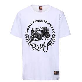 环塔拉力赛夏季新款轰鸣卡车印花女士圆领短袖T恤休闲弹力白色