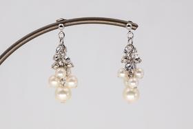 闪亮珍珠钻穗耳钉P0059sv(不支持自提)