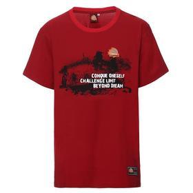 环塔拉力赛夏季 汽车印花男士圆领短袖T恤休闲弹力男宽松上衣  红色
