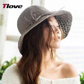 tlove夏季新款麻纱 女士/儿童 时尚卷边宽檐遮阳帽