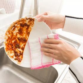 5层加棉木纤维洗碗巾 不沾油百洁布 厨房清洁布去油擦碗抹布