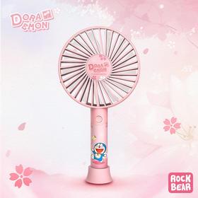 哆啦A梦 浪漫花语风扇  粉色可爱迷你小风扇USB充电便携电风扇三档