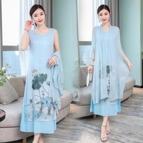 中国风复古气质超仙印花开衫两件套BHL6358