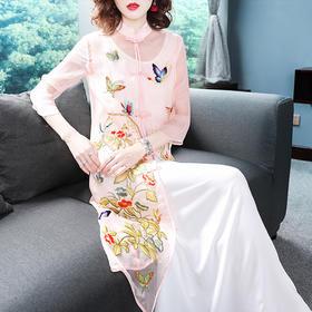 【蝶恋花曲】复古重工刺绣改良旗袍两件套连衣裙OG9689