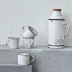 乡村风 仿旧搪瓷 暖水壶茶缸1+4套组 早餐 茶歇 下午茶 复古风 满包邮