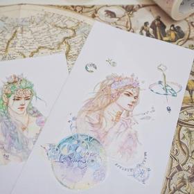 梦幻特殊油墨胶带 宇宙少女手账和纸胶带  文具