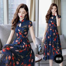 韩版气质淑女印花雪纺立领短袖不规则裙HR80709