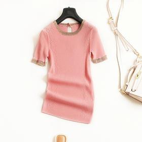 纯色T恤2018夏季新款女装圆领短袖修身显瘦百搭休闲针织上衣4492