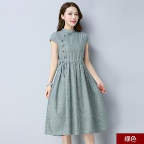 2018夏新款条纹棉麻修身气质中长款旗袍连衣裙FMN1815