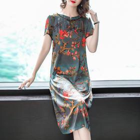 2018夏新款显瘦气质印花中国风复古旗袍A字连衣裙AHM77754