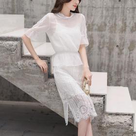 优雅名媛收腰荷叶边修身蕾丝白色吊带两件套蕾丝裙 货号ZCY877