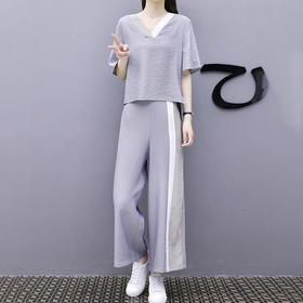 新款休闲运动宽松显瘦时尚棉麻两件套潮HT932