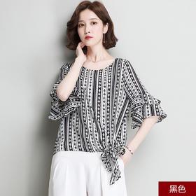 夏季喇叭袖雪纺衫女 韩版气质宽松系带印花上衣YQM18135