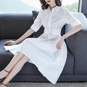 夏季新款气质装饰扣收腰中长款连衣裙YQM18137