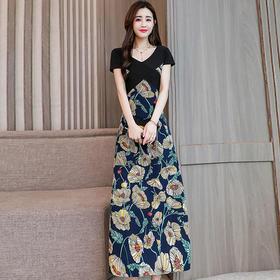 都市时尚显瘦修身V领拼接植物花卉薄款百搭连衣长裙 货号MM8875
