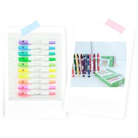 Touchbox小创客 10色荧光画笔+24色小蜡笔两盒
