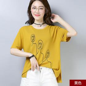 印花短袖针织衫女 韩版简约圆领宽松显瘦上衣YQM2012