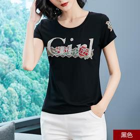 字母玫瑰烫钻T恤衫圆领短袖t恤 休闲圆领修身打底衫YQM033