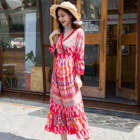 民族风V领高腰荷叶边裙波西米亚印花沙滩裙 货号ALYK1829