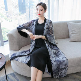 新款女装复古雪纺气质优雅连衣裙套装BHL6275