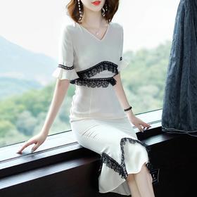 2018夏新款纯色V领名媛修身气质包臀一步裙OM18118